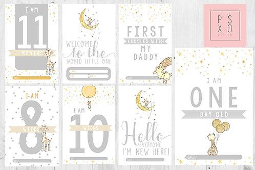 Unisex Cute Watercolour Giraffe Baby Milestone Cards