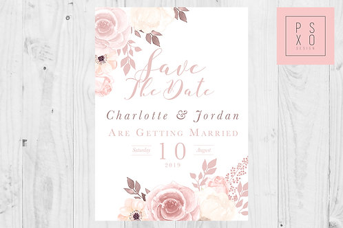Chelsea Range - Beautiful Blush Floral Save The Date Magnets