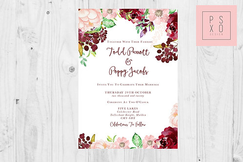 Todd Poppy Floral Boho Wedding Invite