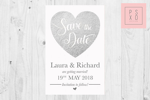Silver & White Faux Foil Save The Date Magnets