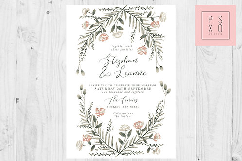 Forest Rose Wreath Wedding Invite
