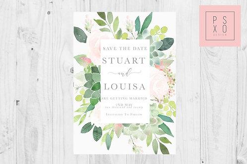 Succulent & Blush Full Border  Save The Date Magnet