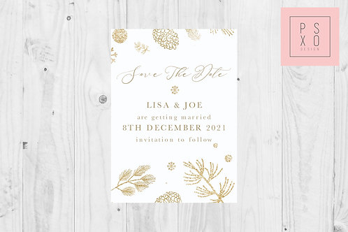 Save The Date Magnet // Gold Snowflake