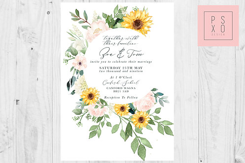 Zoe Wild Flower Blush And Sunflower Circle Themed Wedding Invites