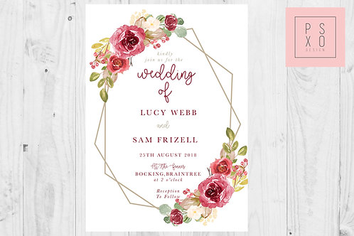 MarieVLucy - Modern Geometric Floral Wedding Invites