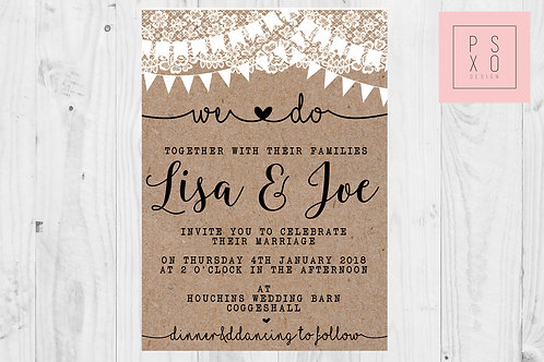 Rustic Lace & Bunting Themed Wedding Invites