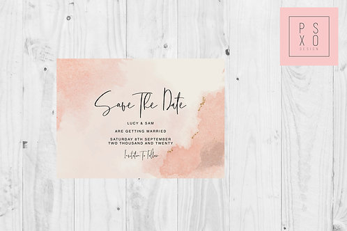 Watercolour Pink Save The Date Magnet