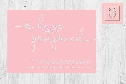 Pink Simple Oh Darling / Postponed Wedding / Change Of Plan /  Digital