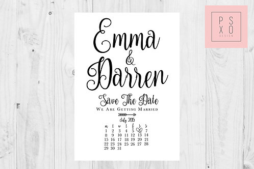 Minimalist Calendar Calligraphy Save The Date Magnets