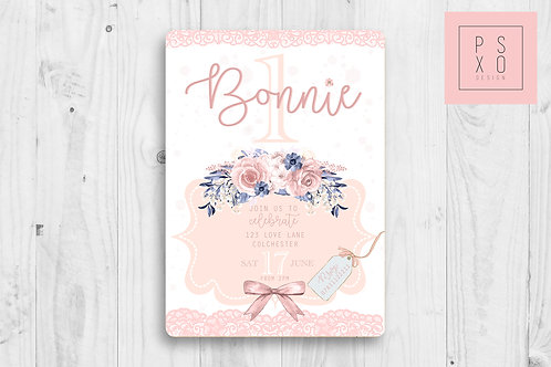 Lovely Pink Pastel Watercolour Floral Invite