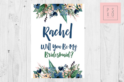 Winter Floral Bridesmaid Proposal Card