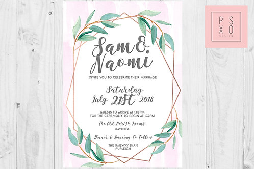 Cute Watercolour and Foliage Geometric Wreath Wedding Invites