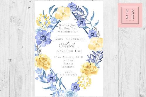 Diamond Blue & Yellow Floral Invites