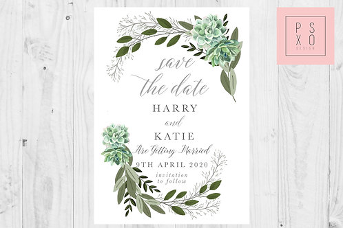 Succulent Leah/Emma 2 Save The Date Magnet