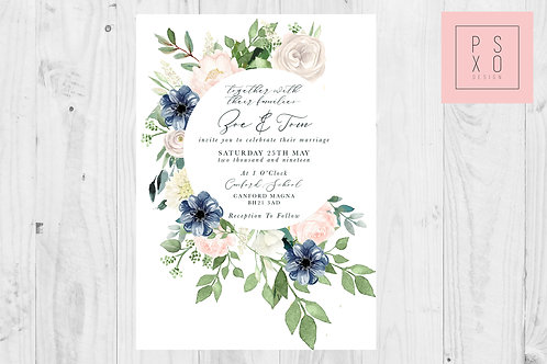 Botanical Navy & Blush Circle  Foliage Invites