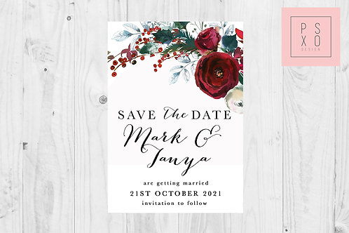 Save The Date Magnet // Christmas Floral Spray