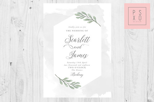Beautiful Watercolour And Foliage Modern Geometric Look Wedding Invite