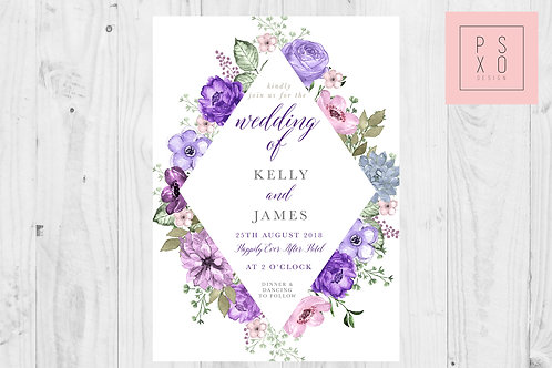 Purple Secret Garden Diamond Wedding Set