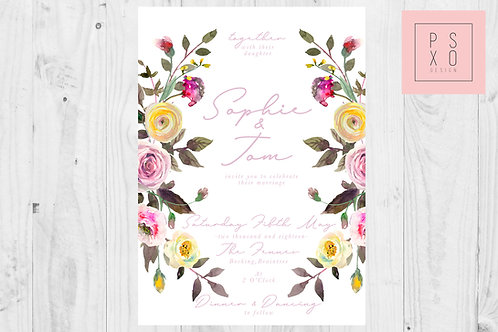 Where The Wild Flowers Are - Pink And Yellow Floral Wild Flower Wedding Invites