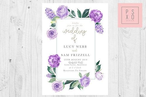Purple Haze - Floral & Foliage Rectangle Wedding Set
