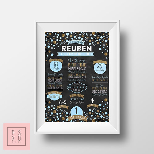 Blue & Gold Confetti Themed Chalkboard Print