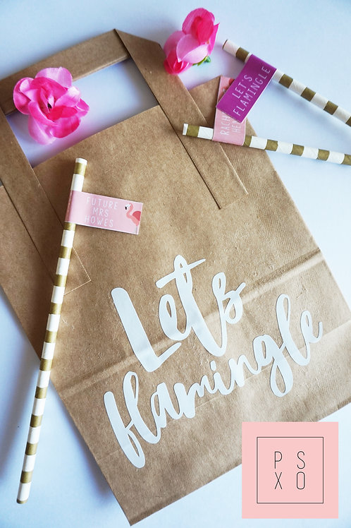 """Let's Flamingle""Brown Paper Bags"