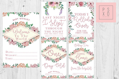 Pink Watercolour Floral Baby Milestone Cards