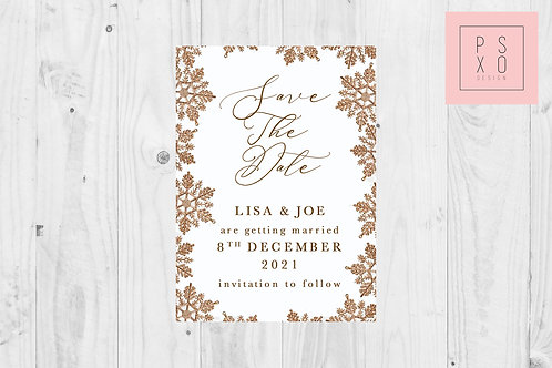 Save The Date Magnet // Bronze Snowflake Design