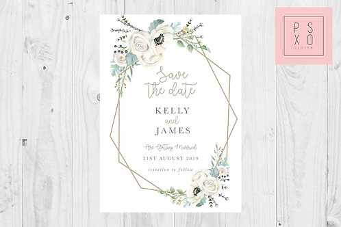 White Marie Geometric Save The Date Magnet