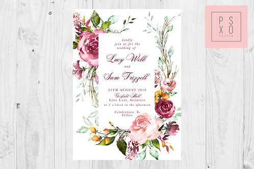 Bright Wildflower & Rose Rectangle Wedding Invite