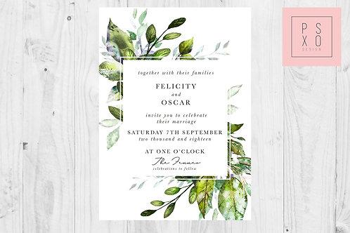 Wild Foliage Square Wedding Invites