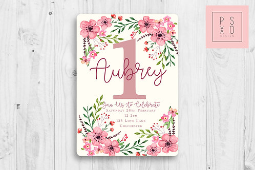 Pink Hand Drawn Floral Invite
