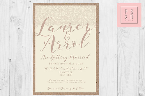 Rustic Kraft And Cream Wedding Invite With Lace Effect