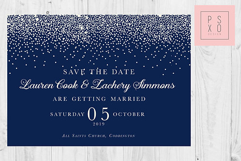 Navy & White Confetti Themed Save The Date Magnets