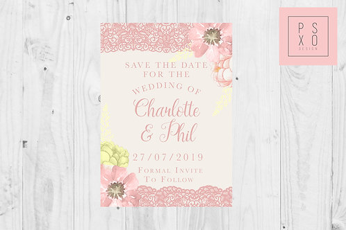 Blush Pink Floral Lace Save The Date Magnets