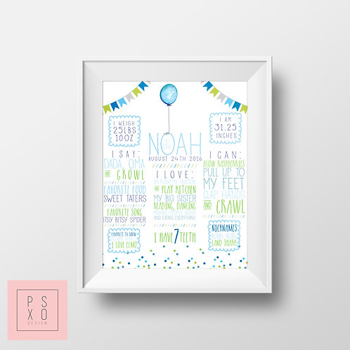 Blue And Green Bunting Themed Chalkboard Poser