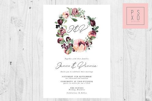 Plum Floral Wreath Calligraphy Wedding Invite