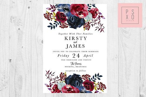 Kirsty Burgundy & Navy Wild Floral Wedding Invite