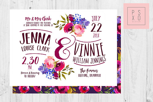 Bright Wed Fest Theme Boho Berry Floral Wedding Invite