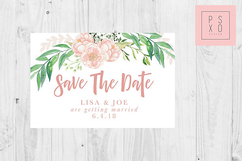 Blush And Greenery Floral Save The Date