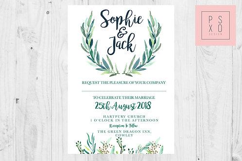 Simple Foliage Rustic Themed Wedding Invites