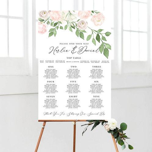 Emma Blush Floral Foliage Table Plan