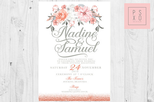 Coral Floral With Faux Glitter Themed Wedding Invites
