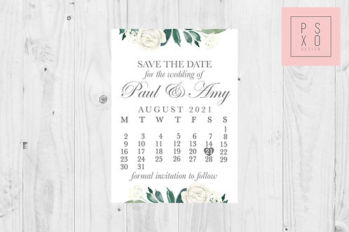 Beautiful White Floral Botanical Calendar Design