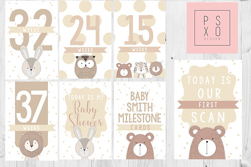 Sweet Animal Themed Pregnancy Milestone Cards
