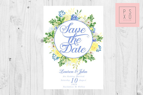 Lauren Blue & Yellow Floral Circle Save The Date Magnet
