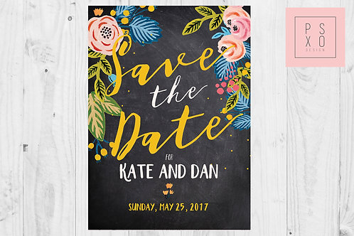 Bright Floral Chalkboard Save The Date Magnets