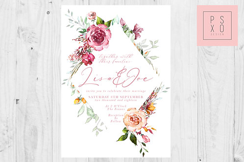 Summer Rose Diamond Wedding Invite