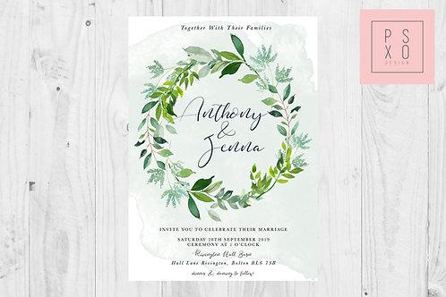 Jenna Watercolour Wreath Wedding Invite