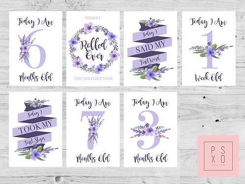 Lilac Floral Themed Milestone Cards